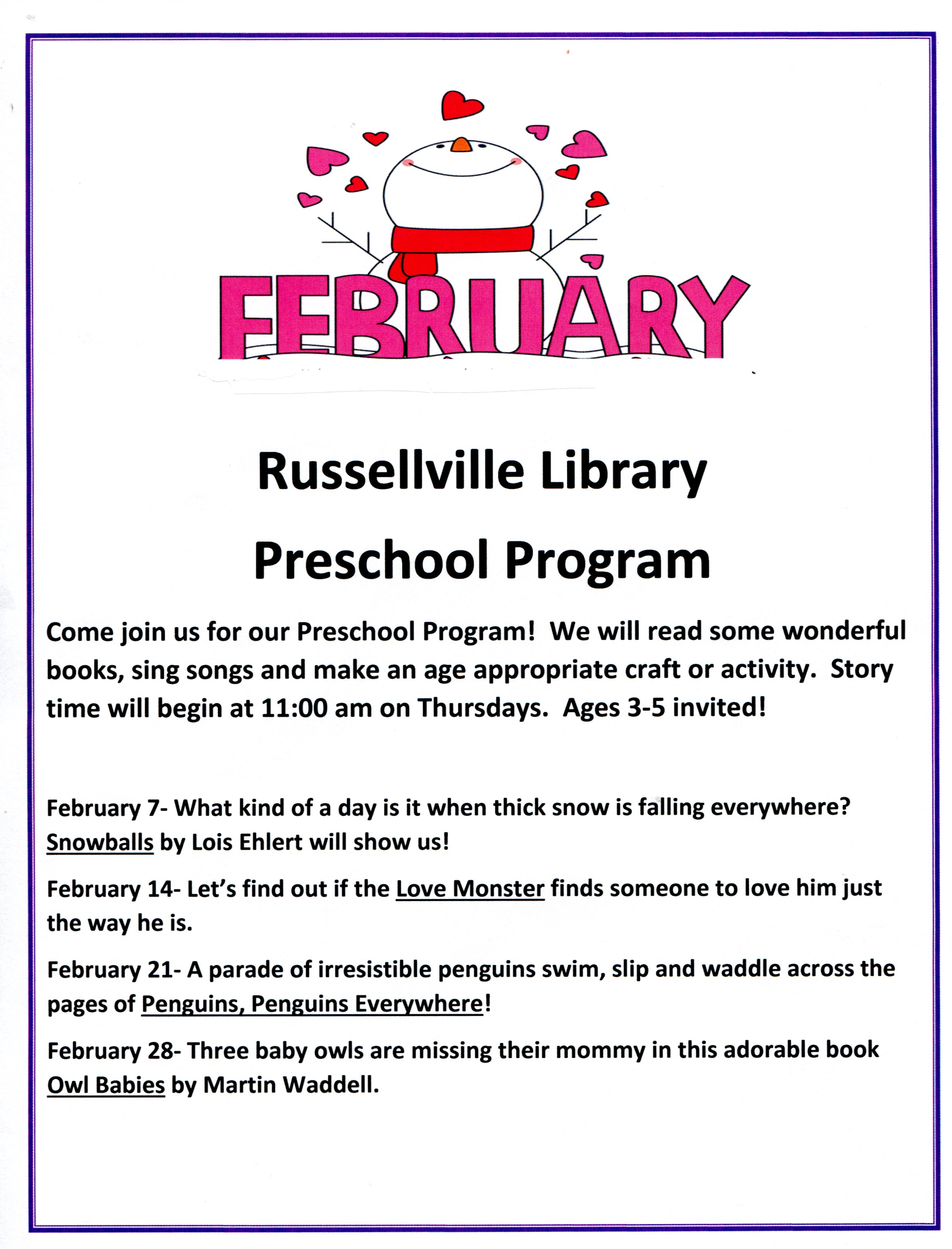 Russellville Preschool Program - 2 to 5 year olds