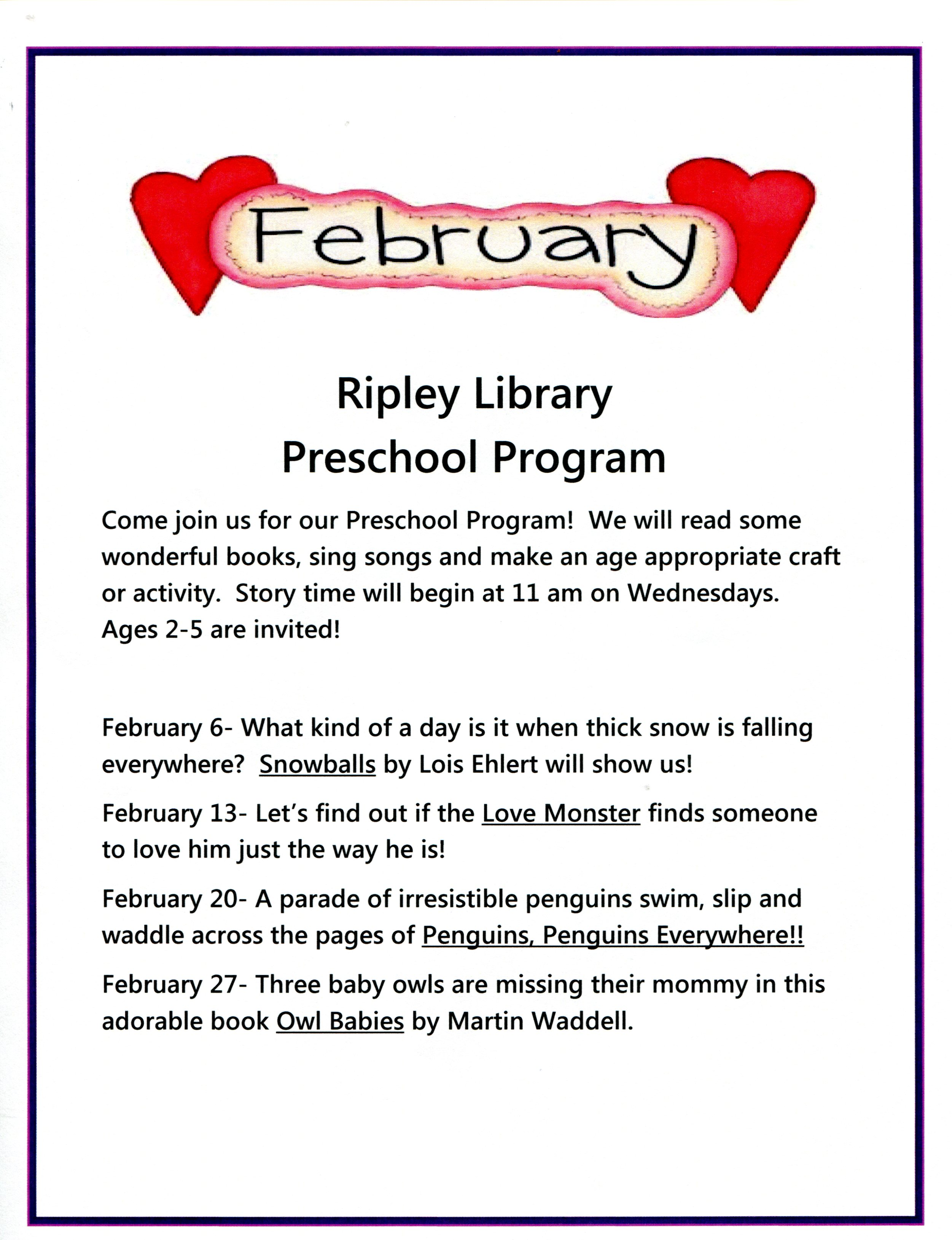 Ripley Preschool Program - 2 to 5 Year Olds