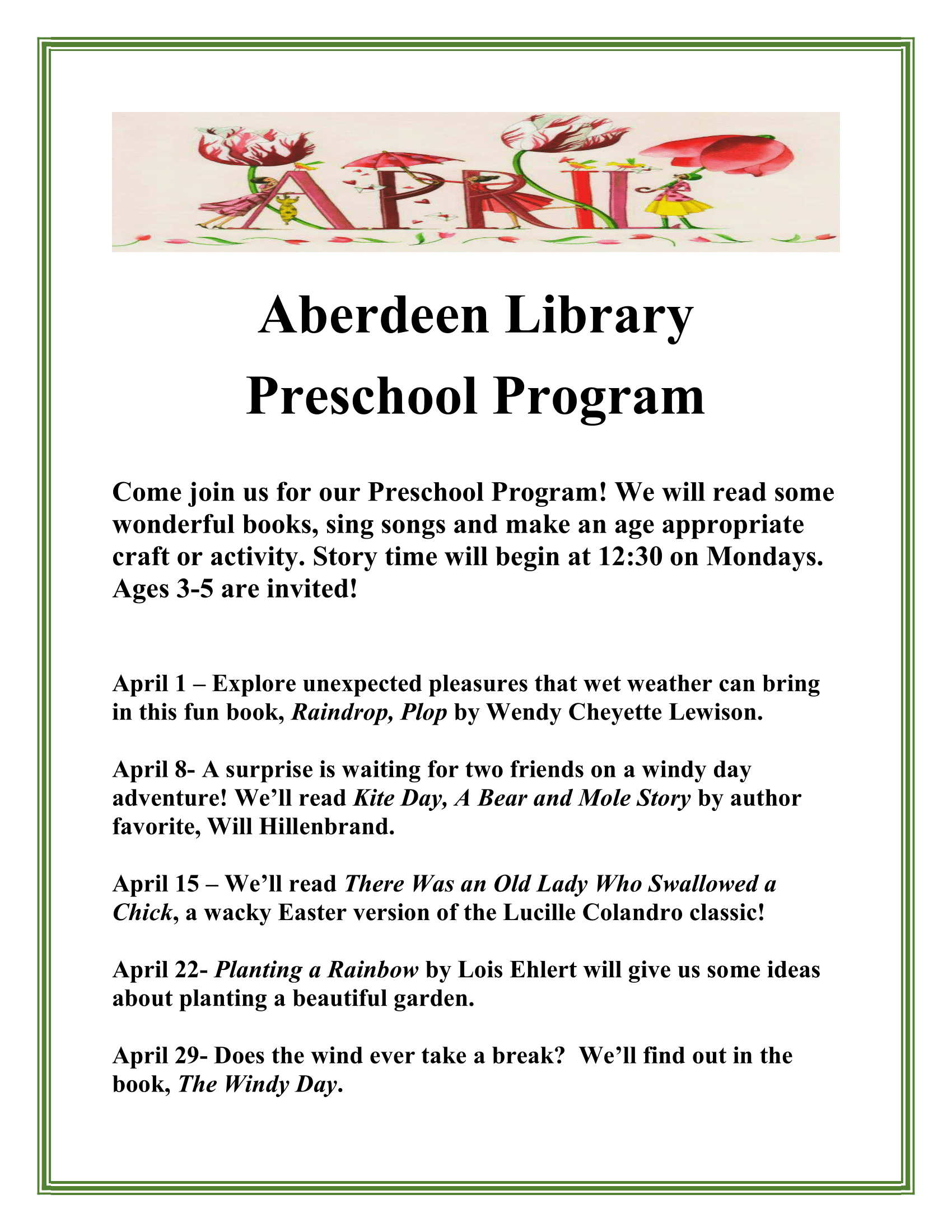 Aberdeen Preschool Program -2 to 5 year olds