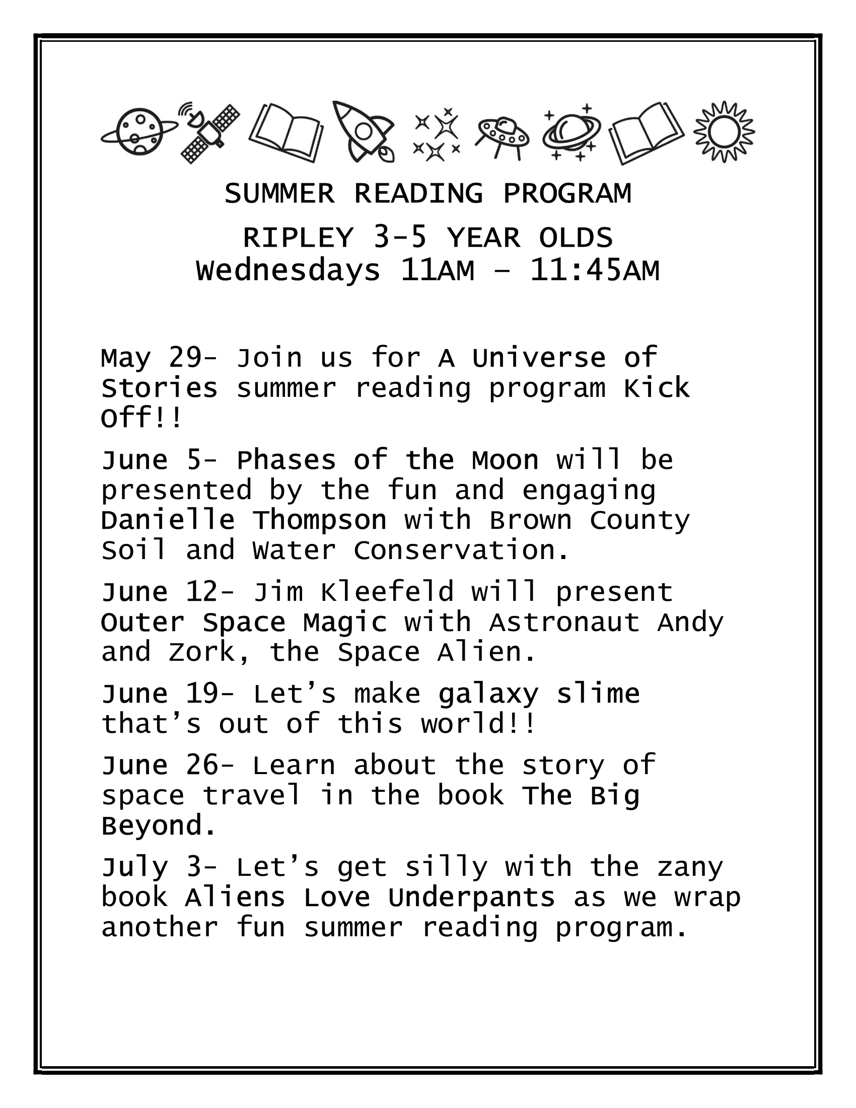 Summer Reading Program (3 to 5 Year Old) - Ripley Branch