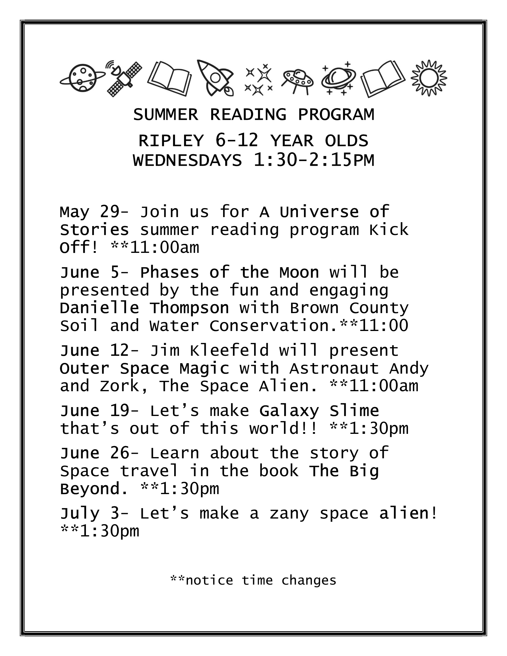 Summer Reading Program (6 to 12 Year Old) - Ripley Branch