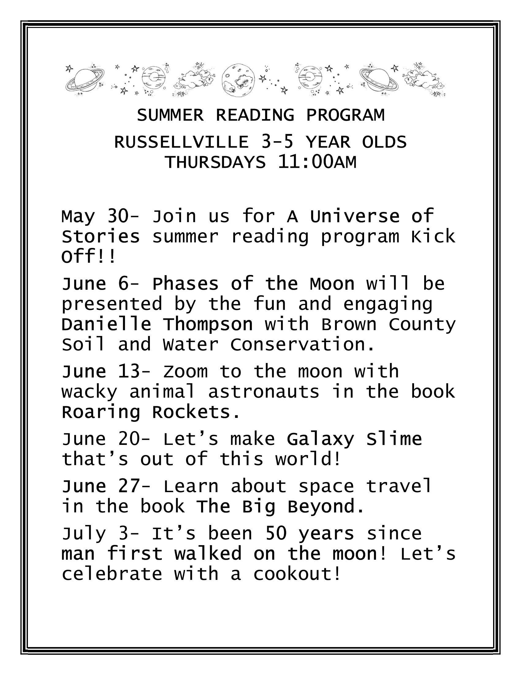 Summer Reading Program (3 to 5 Year Old) - Russellville Branch