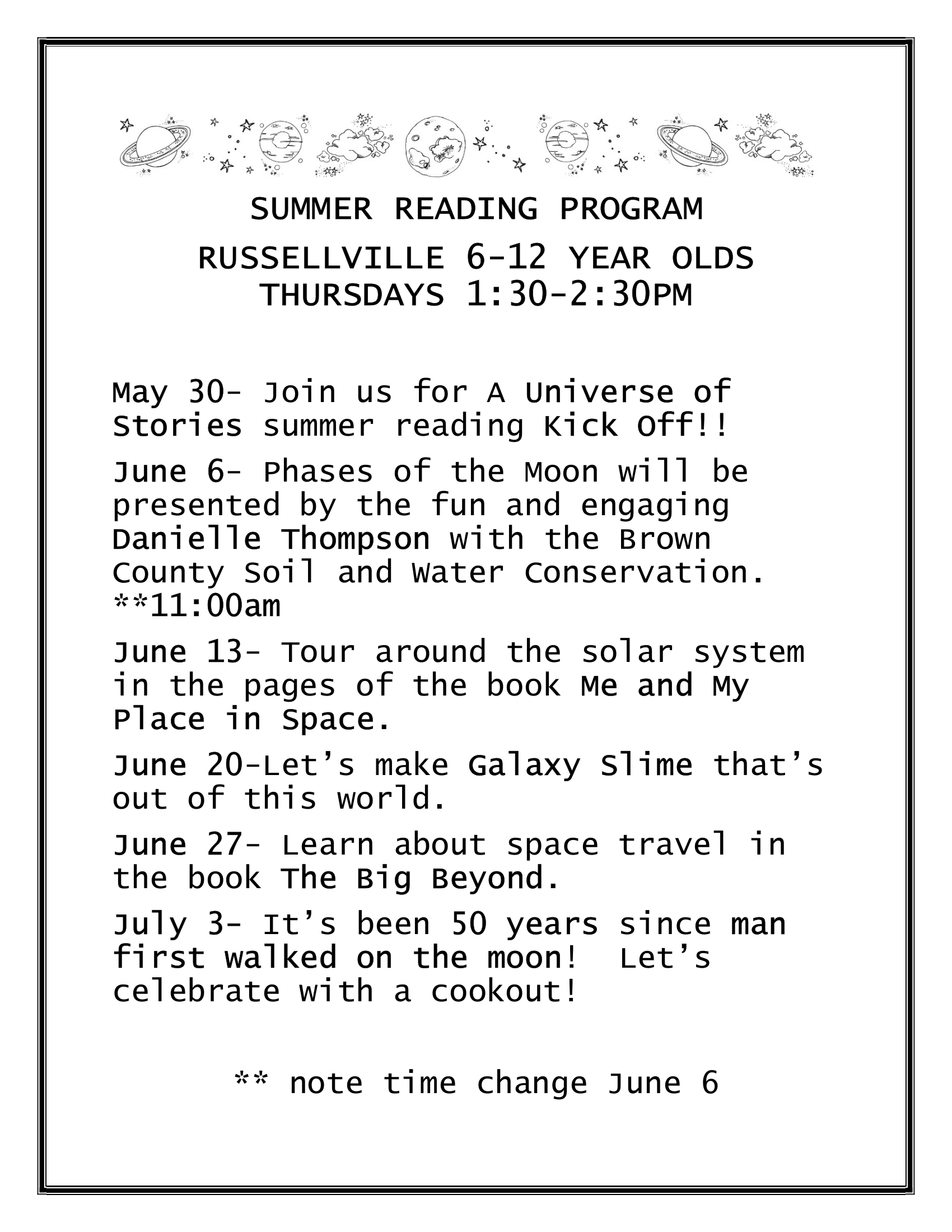 Summer Reading Program (6 to 12 Year Old) - Russellville Branch