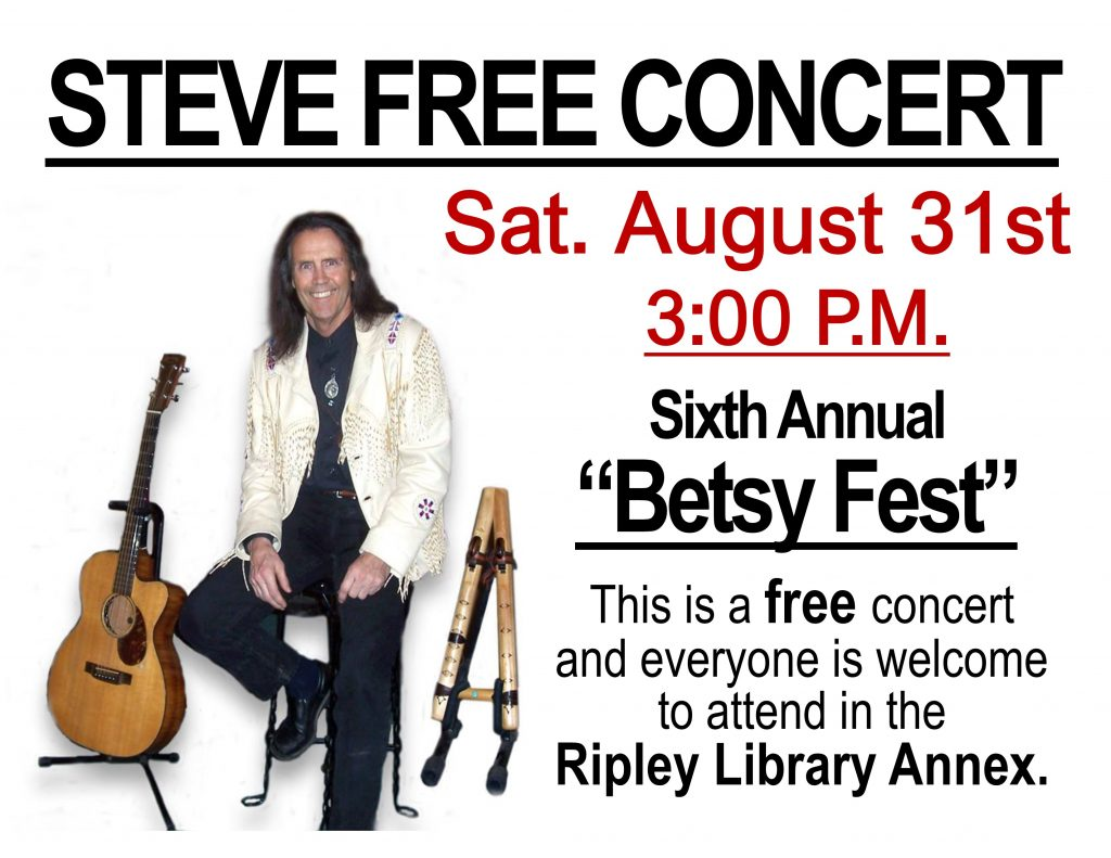 STEVE FREE IN CONCERT – AUGUST 31st 3:00 PM