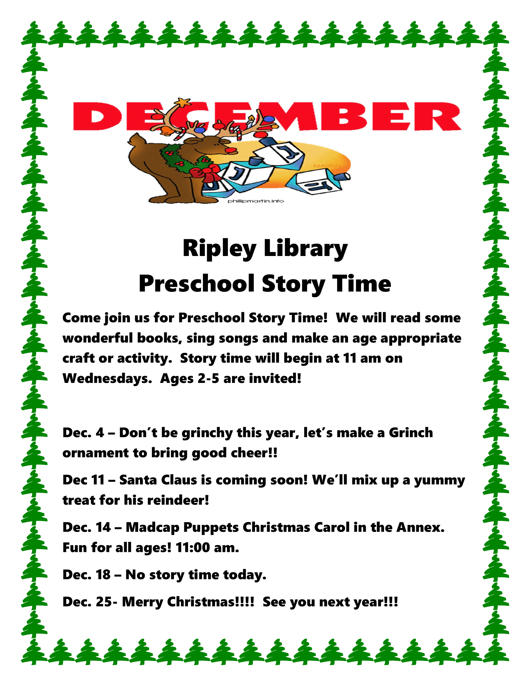 December Preschool Story Times - Ripley