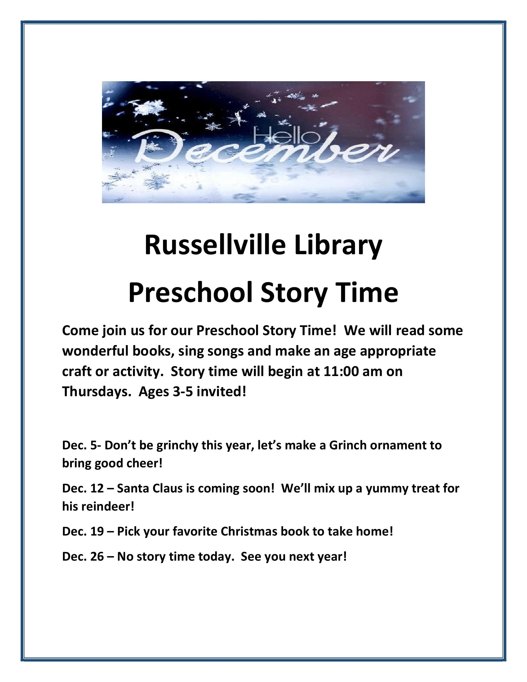 December Preschool Story Times - Russellville