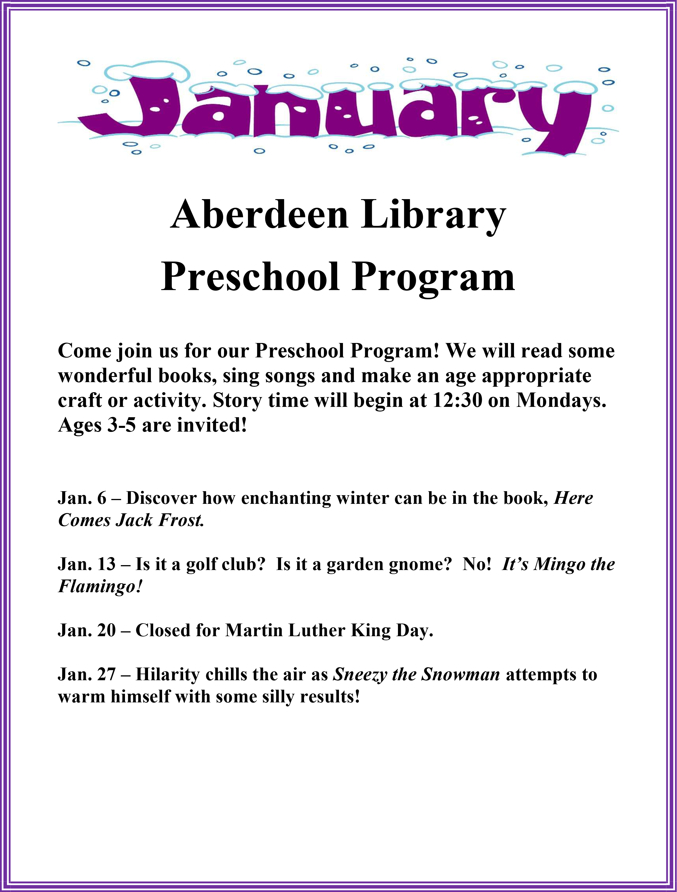 January Preschool Story Times - Aberdeen