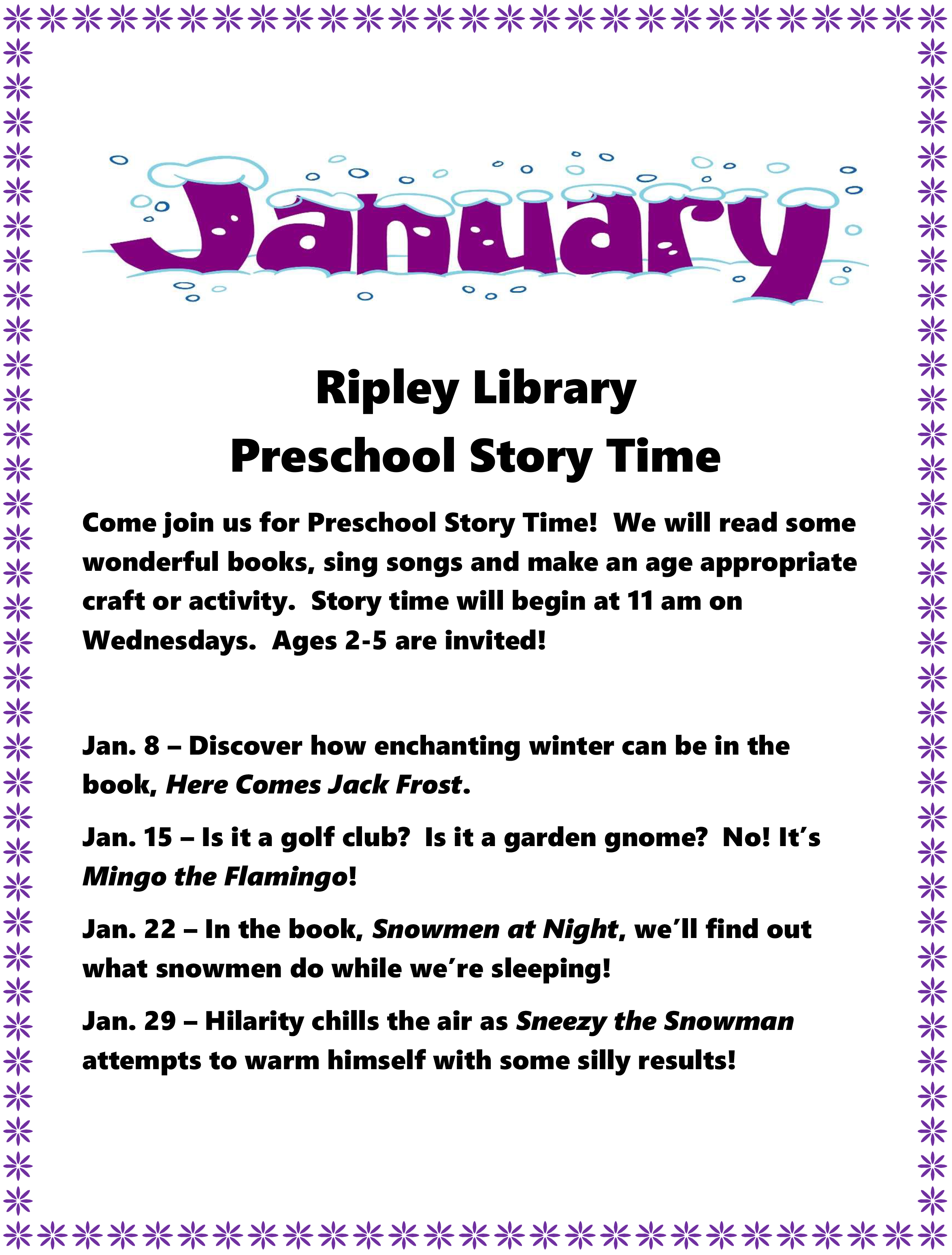 January Preschool Story Times - Ripley