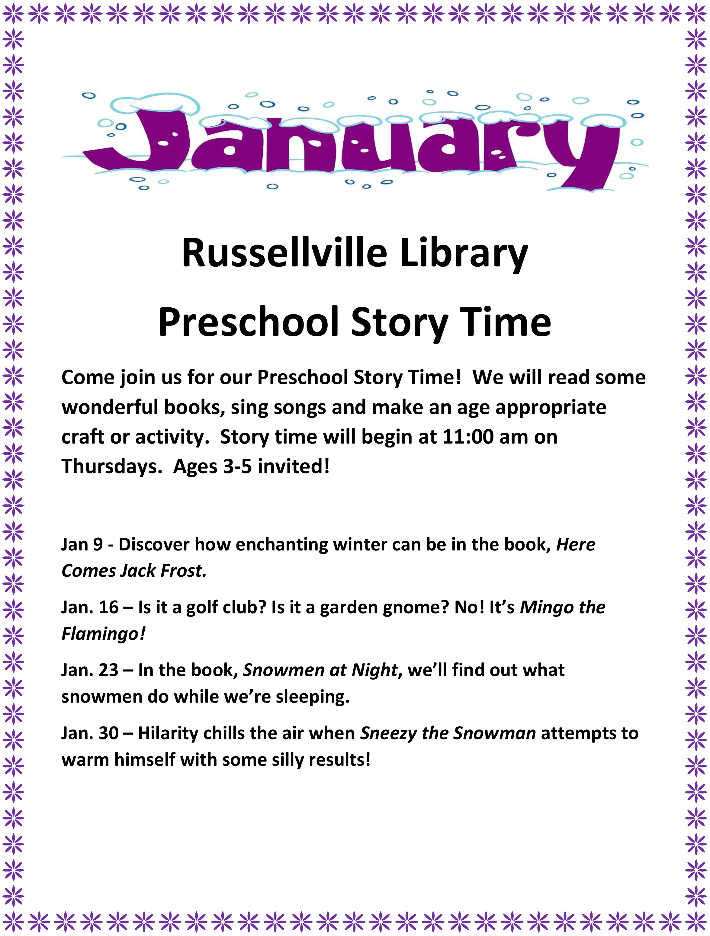 January Preschool Story Times - Russellville